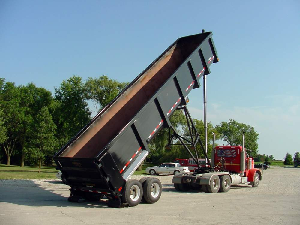 Raised hydraulic dump trailer from Hribar Logistics