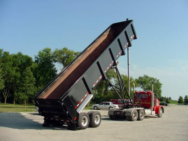Raised hydraulic dump trailer from Hribar Logistics